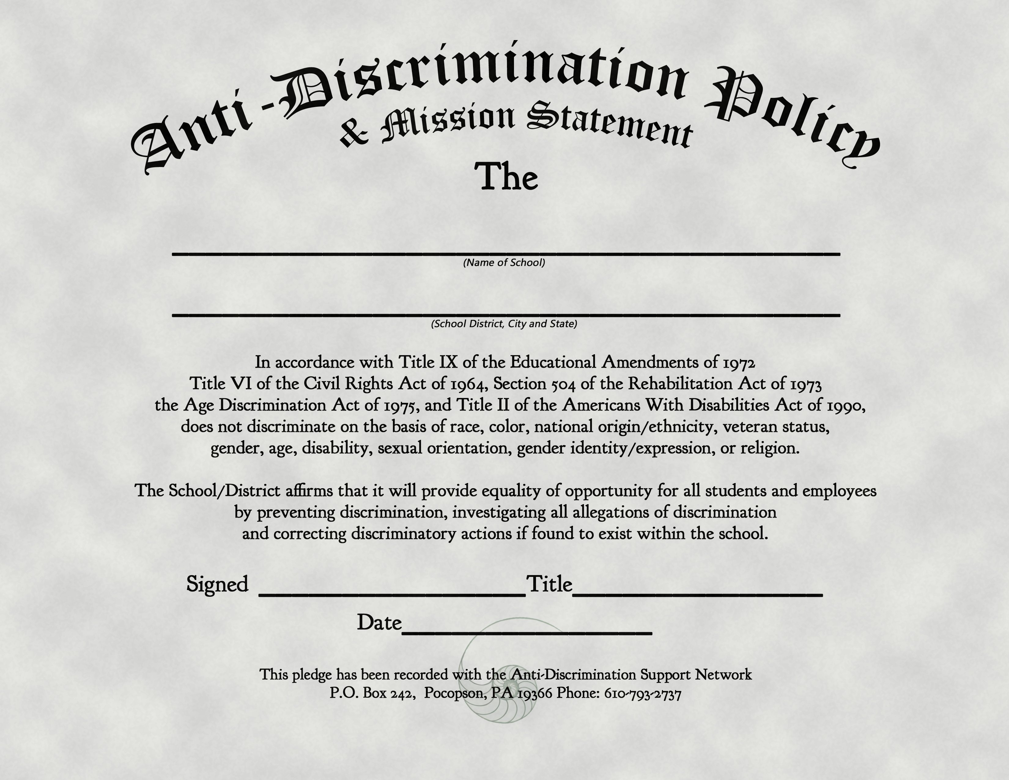 Anti Discrimination Policy Template Anti Discrimination Policy Mission Statement The Freethought Society